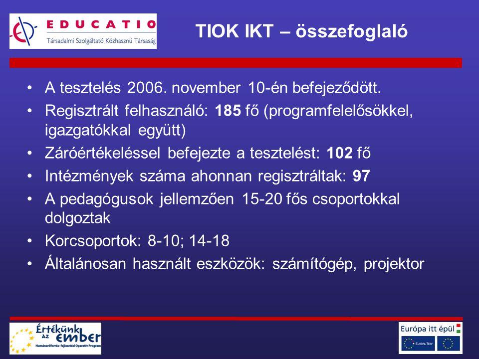 A tesztelés 2006. november 10-én befejeződött. Regisztrált felhasználó: 185 fő (programfelelősökkel, igazgatókkal együtt) Záróértékeléssel befejezte a