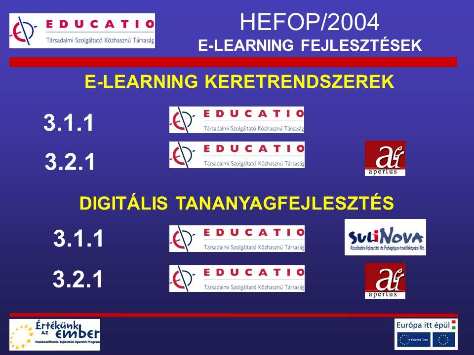 HEFOP/2004 E-LEARNING FEJLESZTÉSEK E-LEARNING KERETRENDSZEREK DIGITÁLIS TANANYAGFEJLESZTÉS 3.1.1 3.2.1 3.1.1 3.2.1