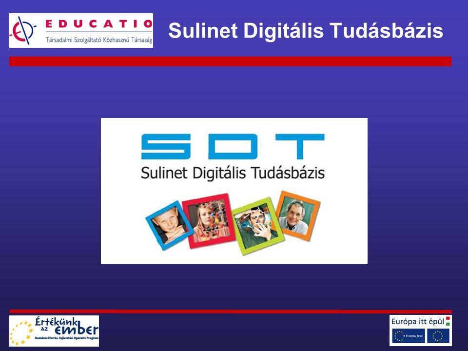 SDT 0.1 béta-tesztverzió (2004) Web-es lejátszó 2 (később 10) tananyag módszertani információk tesztelés SDT 1.0 éles rendszer (2006) –közoktatási és szakképzési tartalmak –teljes és kisebb tananyagok –gyűjtemények –kereszttantervi anyagok –e-tartalmak az SDT kísérőjeként –új pedagógiai tulajdonságok Sulinet Digitális Tudásbázis története