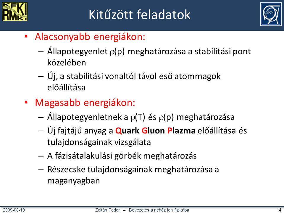 Zoltán Fodor – Bevezetés a nehéz ion fizikába 142009-08-19 Kitűzött feladatok Alacsonyabb energiákon: – Állapotegyenlet  (p) meghatározása a stabilitási pont közelében – Új, a stabilitási vonaltól távol eső atommagok előállítása Magasabb energiákon: – Állapotegyenletnek a  (T) és  (p) meghatározása – Új fajtájú anyag a Quark Gluon Plazma előállítása és tulajdonságainak vizsgálata – A fázisátalakulási görbék meghatározás – Részecske tulajdonságainak meghatározása a maganyagban