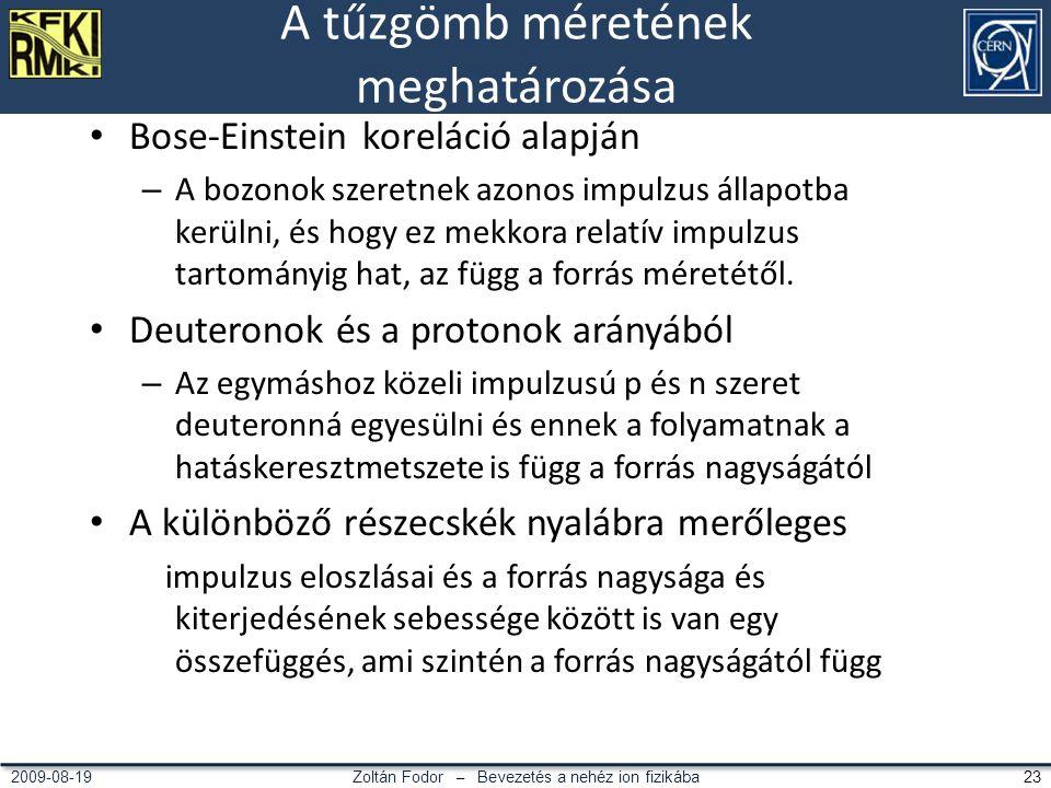 Zoltán Fodor – Bevezetés a nehéz ion fizikába 232009-08-19 A tűzgömb méretének meghatározása Bose-Einstein koreláció alapján – A bozonok szeretnek azonos impulzus állapotba kerülni, és hogy ez mekkora relatív impulzus tartományig hat, az függ a forrás méretétől.