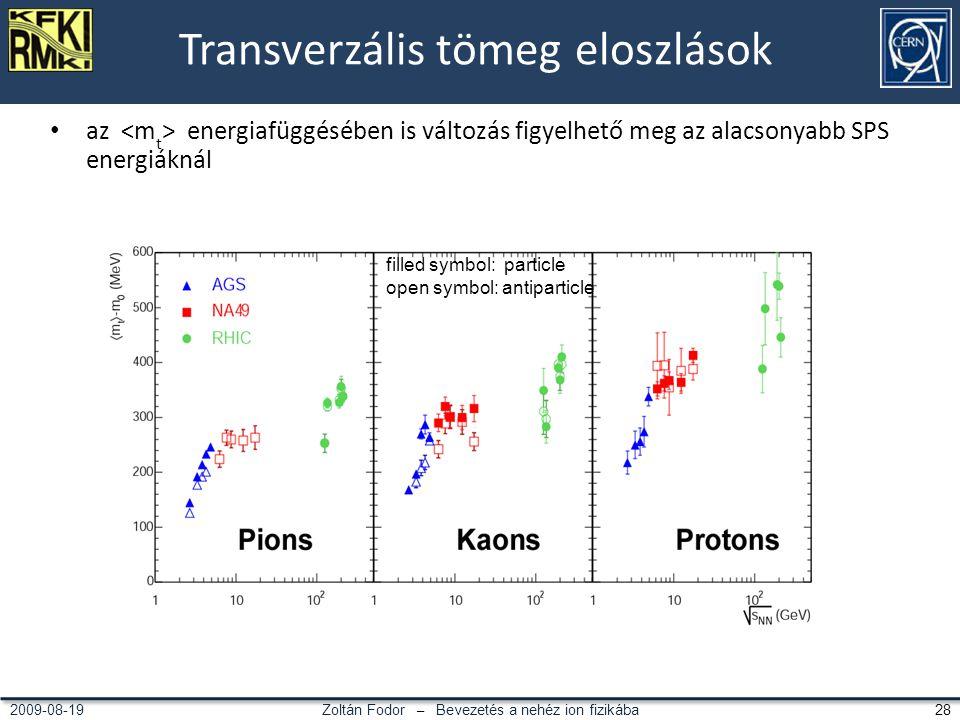 Zoltán Fodor – Bevezetés a nehéz ion fizikába 282009-08-19 Transverzális tömeg eloszlások az energiafüggésében is változás figyelhető meg az alacsonyabb SPS energiáknál filled symbol: particle open symbol: antiparticle