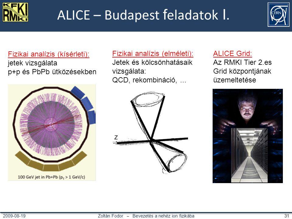 Zoltán Fodor – Bevezetés a nehéz ion fizikába 312009-08-19 ALICE – Budapest f eladatok I.