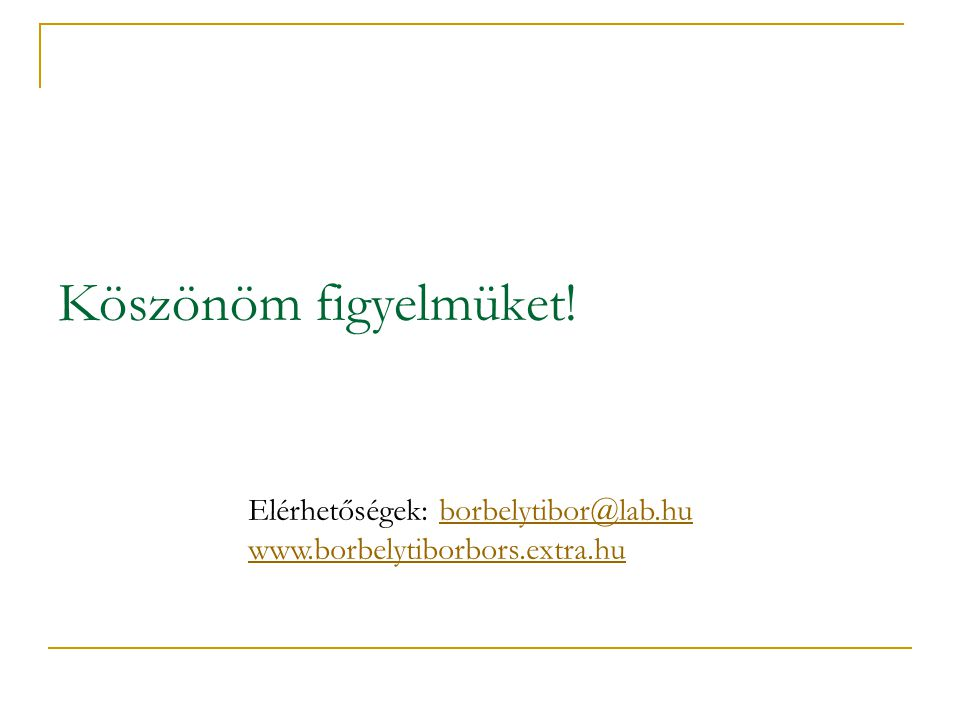 Köszönöm figyelmüket! Elérhetőségek: borbelytibor@lab.huborbelytibor@lab.hu www.borbelytiborbors.extra.hu