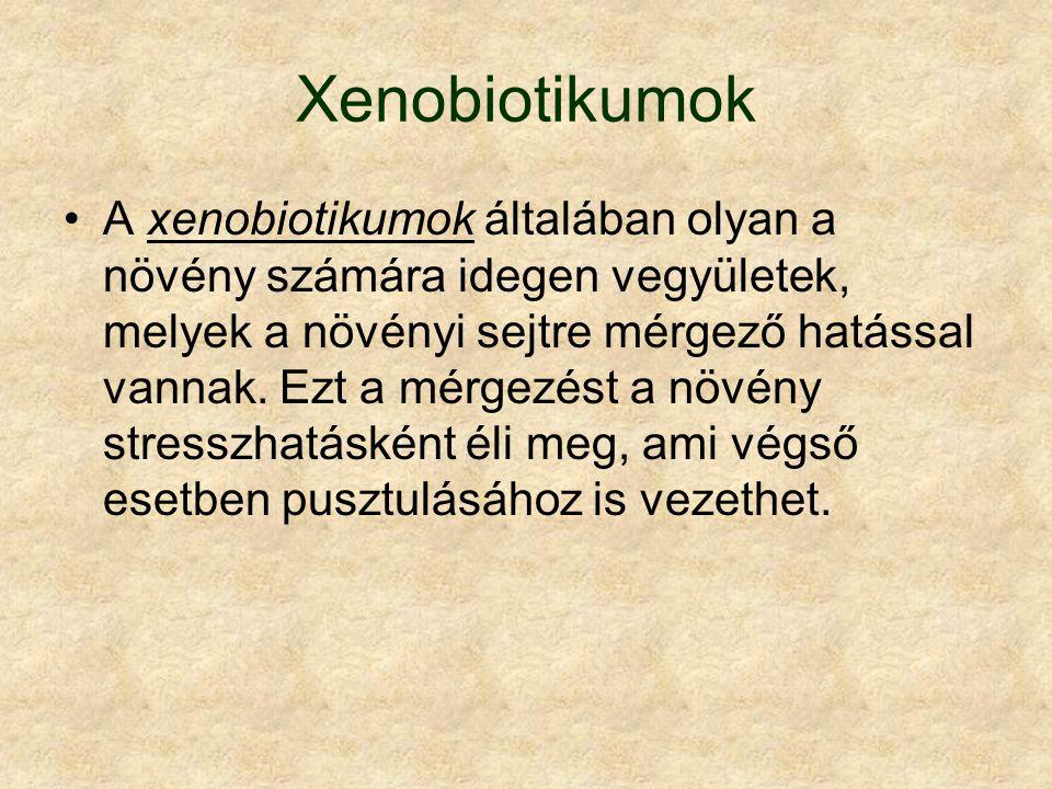 Xenobiotikumok A xenobiotikumok általában olyan a növény számára idegen vegyületek, melyek a növényi sejtre mérgező hatással vannak.