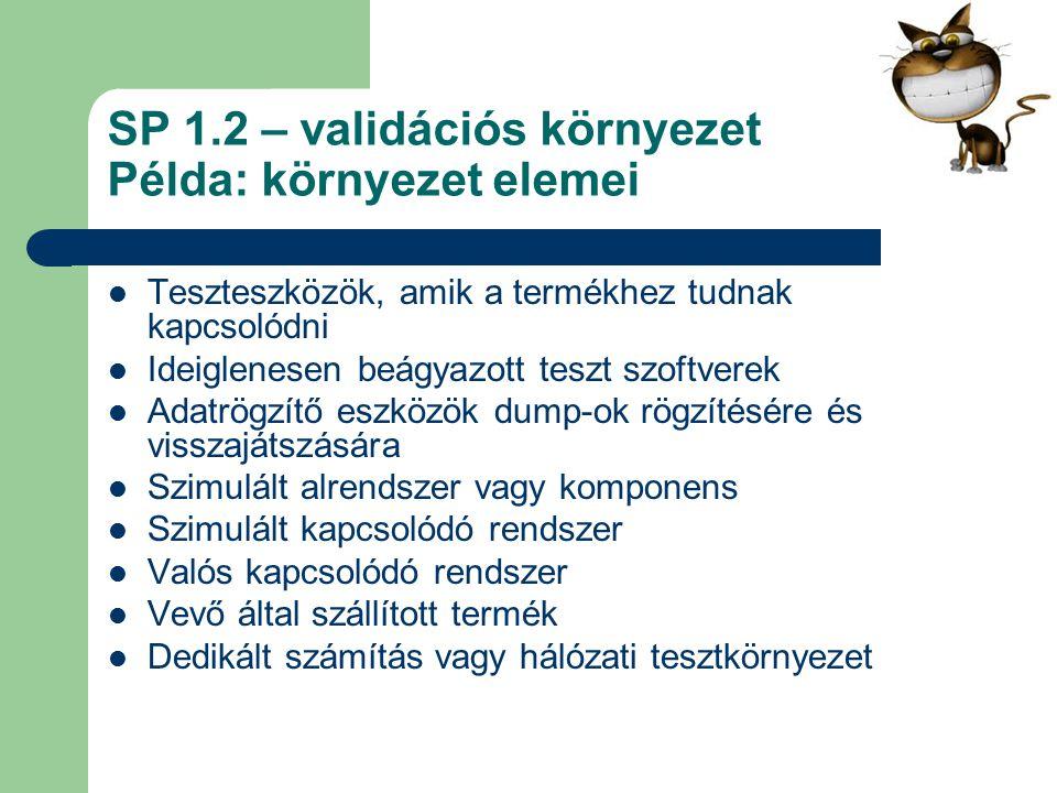 SP 1.2 – validációs környezet Példa: környezet elemei Teszteszközök, amik a termékhez tudnak kapcsolódni Ideiglenesen beágyazott teszt szoftverek Adat
