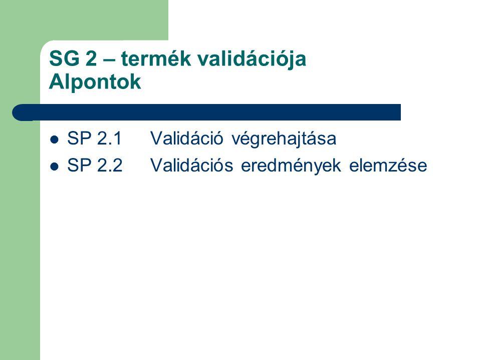 SG 2 – termék validációja Alpontok SP 2.1 Validáció végrehajtása SP 2.2 Validációs eredmények elemzése
