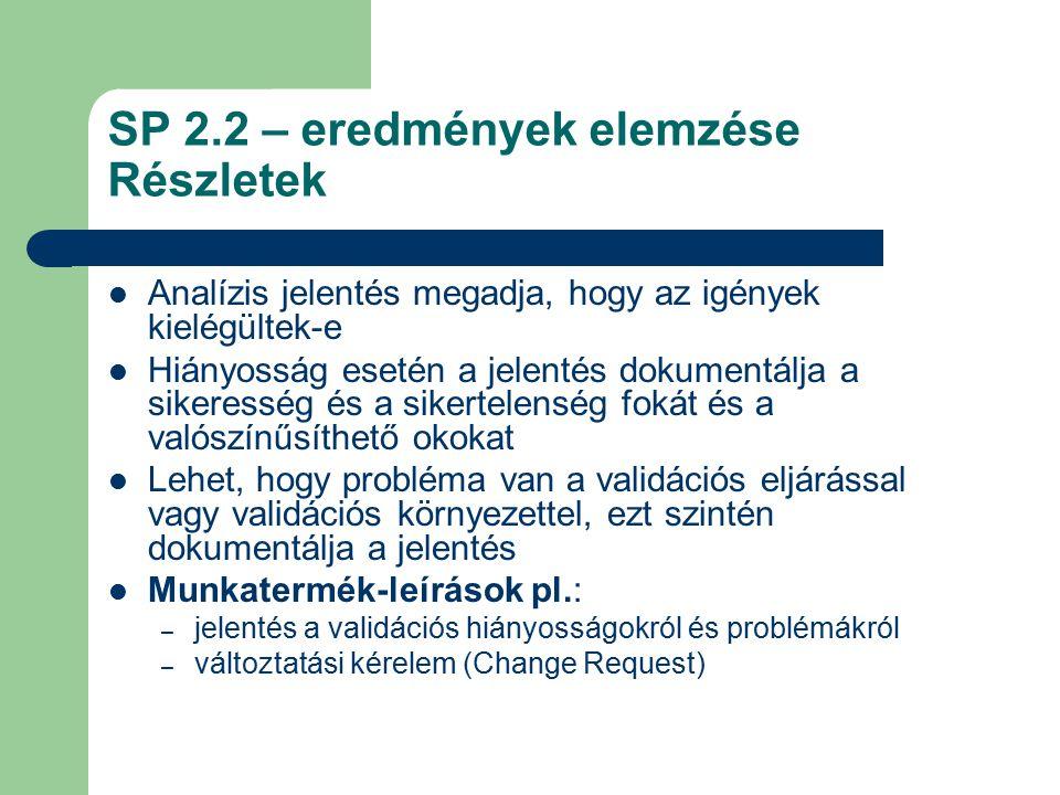 SP 2.2 – eredmények elemzése Részletek Analízis jelentés megadja, hogy az igények kielégültek-e Hiányosság esetén a jelentés dokumentálja a sikeresség