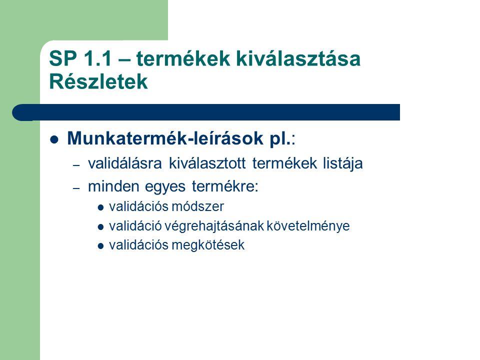 SP 1.1 – termékek kiválasztása Részletek Munkatermék-leírások pl.: – validálásra kiválasztott termékek listája – minden egyes termékre: validációs mód