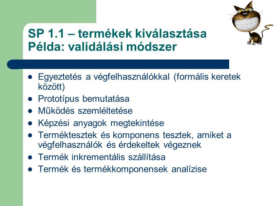 SP 1.1 – termékek kiválasztása Példa: validálási módszer Egyeztetés a végfelhasználókkal (formális keretek között) Prototípus bemutatása Működés szeml