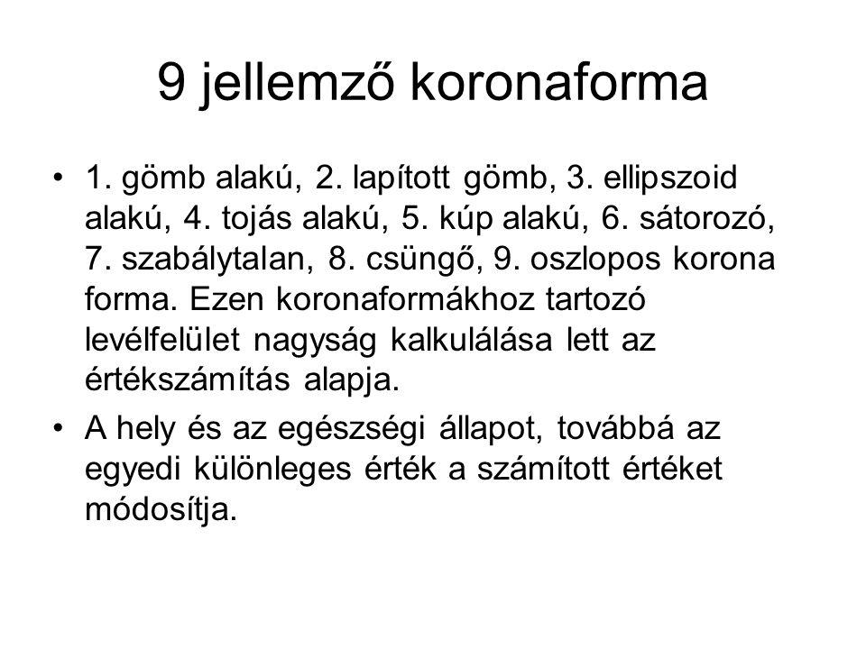 9 jellemző koronaforma 1. gömb alakú, 2. lapított gömb, 3. ellipszoid alakú, 4. tojás alakú, 5. kúp alakú, 6. sátorozó, 7. szabálytalan, 8. csüngő, 9.