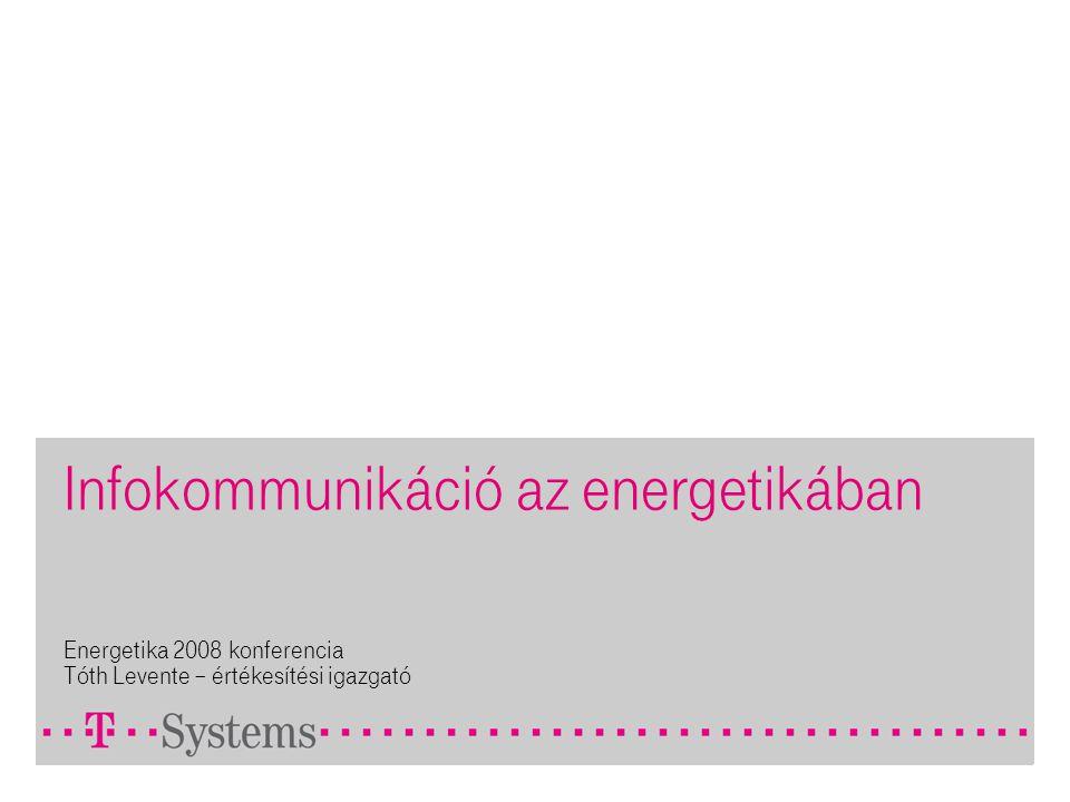 Infokommunikáció az energetikában Energetika 2008 konferencia Tóth Levente – értékesítési igazgató