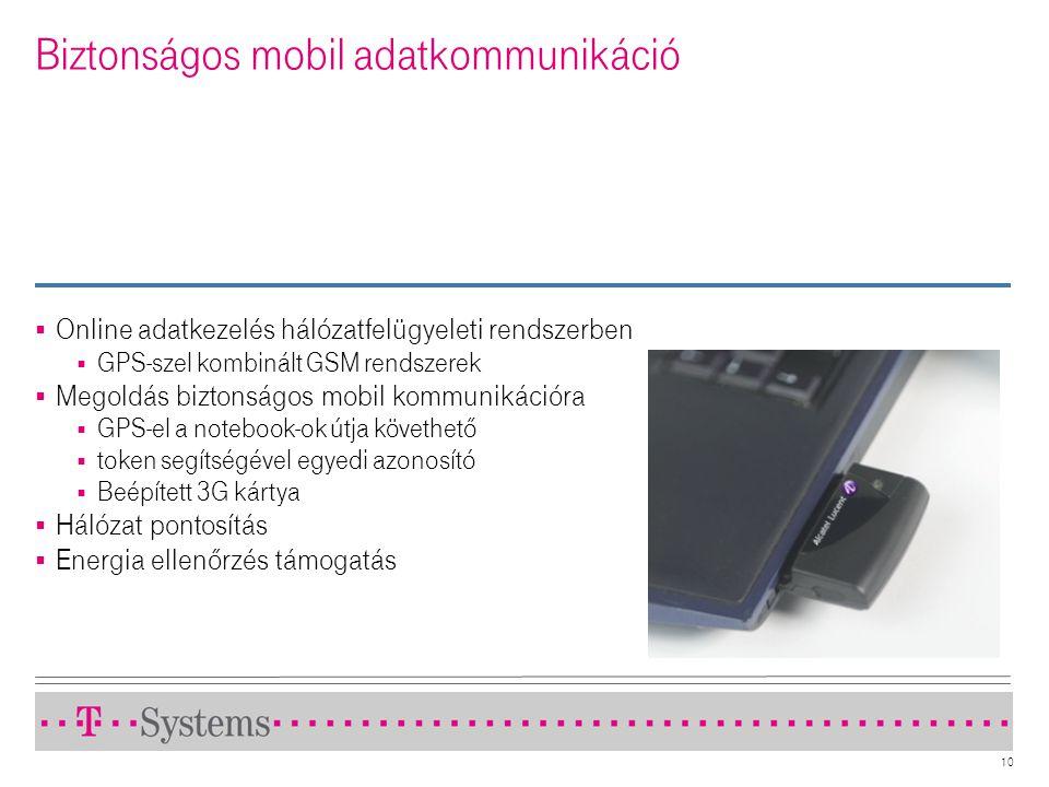 10 Biztonságos mobil adatkommunikáció  Online adatkezelés hálózatfelügyeleti rendszerben  GPS-szel kombinált GSM rendszerek  Megoldás biztonságos m