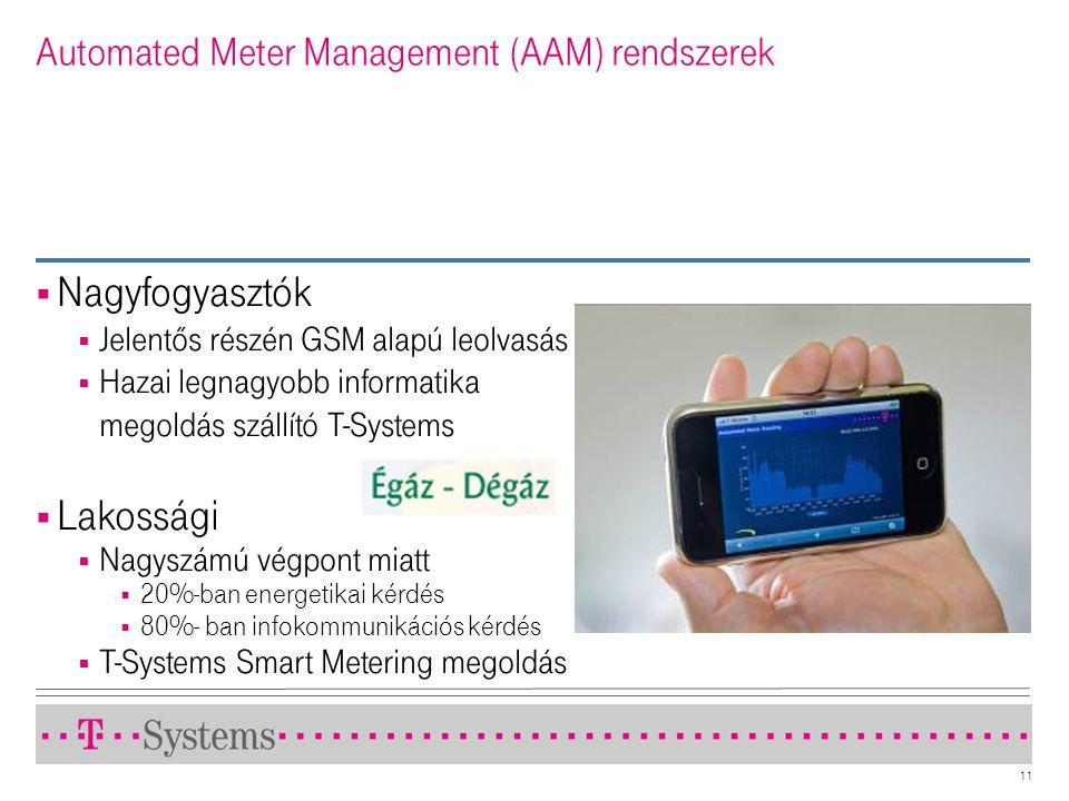 11 Automated Meter Management (AAM) rendszerek  Nagyfogyasztók  Jelentõs részén GSM alapú leolvasás  Hazai legnagyobb informatika megoldás szállító