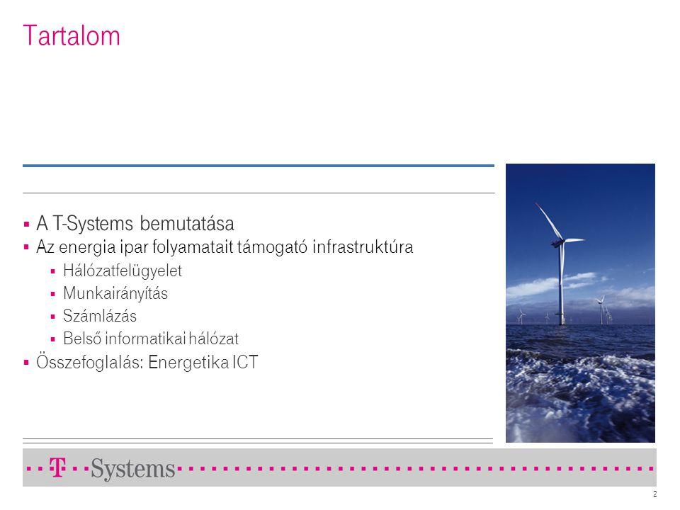 2 Tartalom  A T-Systems bemutatása  Az energia ipar folyamatait támogató infrastruktúra  Hálózatfelügyelet  Munkairányítás  Számlázás  Belső inf