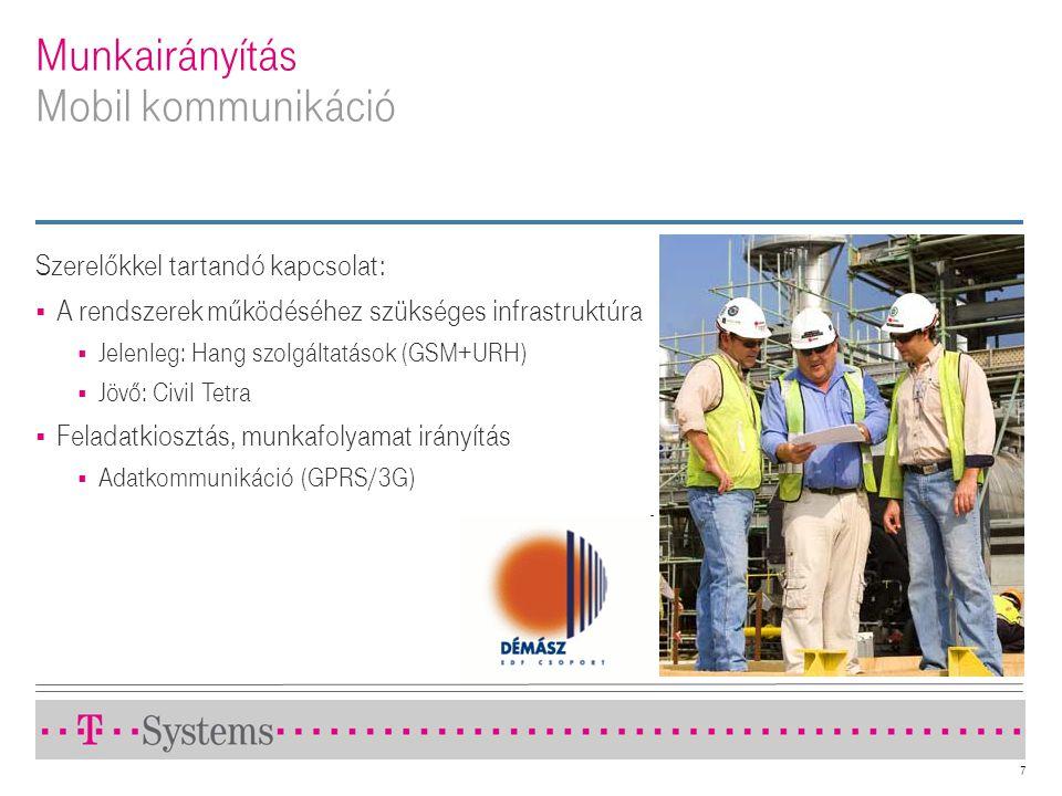 7 Munkairányítás Mobil kommunikáció Szerelőkkel tartandó kapcsolat:  A rendszerek működéséhez szükséges infrastruktúra  Jelenleg: Hang szolgáltatáso