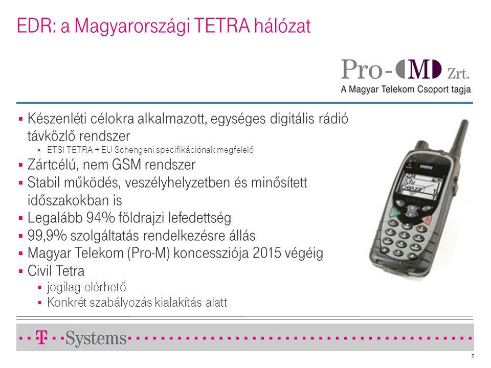 8 EDR: a Magyarországi TETRA hálózat  Készenléti célokra alkalmazott, egységes digitális rádió távközlő rendszer  ETSI TETRA + EU Schengeni specifik