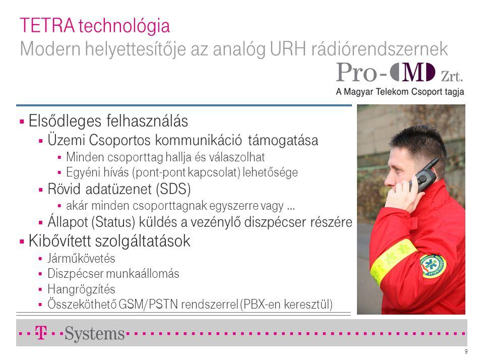 9 TETRA technológia Modern helyettesítője az analóg URH rádiórendszernek  Elsődleges felhasználás  Üzemi Csoportos kommunikáció támogatása  Minden