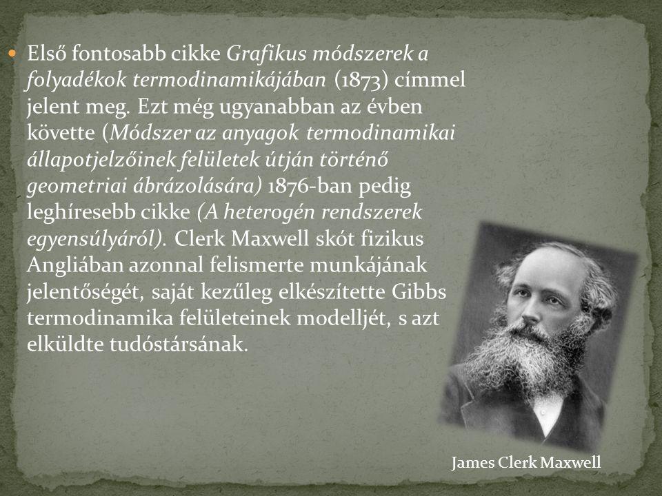 Első fontosabb cikke Grafikus módszerek a folyadékok termodinamikájában (1873) címmel jelent meg.