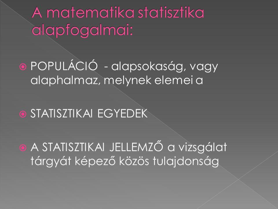  POPULÁCIÓ - alapsokaság, vagy alaphalmaz, melynek elemei a  STATISZTIKAI EGYEDEK  A STATISZTIKAI JELLEMZŐ a vizsgálat tárgyát képező közös tulajdonság