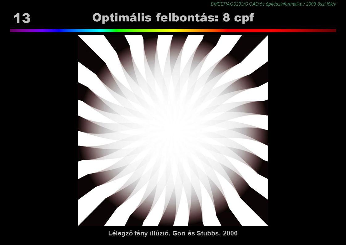 BMEEPAG0233/C CAD és építészinformatika / 2009 őszi félév 13 Optimális felbontás: 8 cpf Lélegző fény illúzió, Gori és Stubbs, 2006