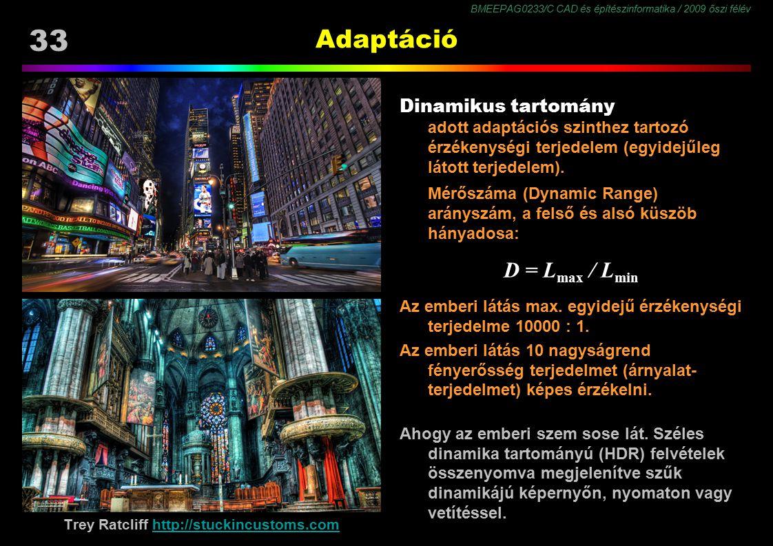 BMEEPAG0233/C CAD és építészinformatika / 2009 őszi félév 33 Adaptáció Dinamikus tartomány adott adaptációs szinthez tartozó érzékenységi terjedelem (
