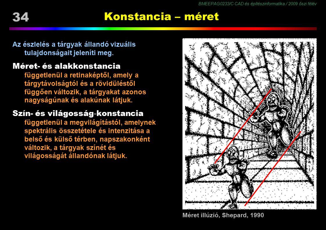 BMEEPAG0233/C CAD és építészinformatika / 2009 őszi félév 34 Konstancia – méret Az észlelés a tárgyak állandó vizuális tulajdonságait jeleníti meg. Mé