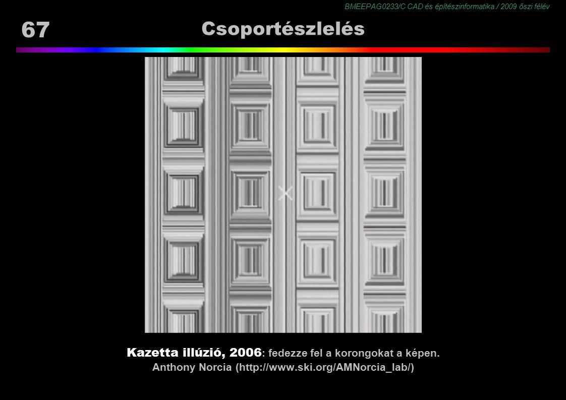 BMEEPAG0233/C CAD és építészinformatika / 2009 őszi félév 67 Csoportészlelés Kazetta illúzió, 2006 : fedezze fel a korongokat a képen. Anthony Norcia