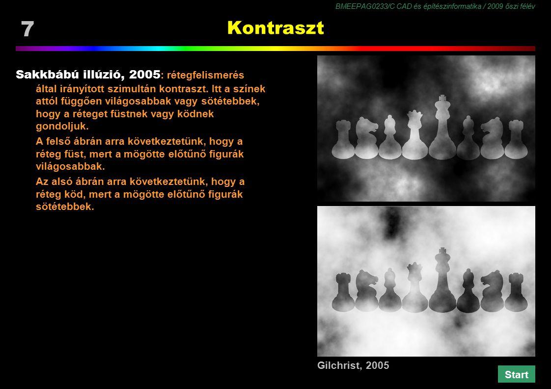 BMEEPAG0233/C CAD és építészinformatika / 2009 őszi félév 48 Kontraszt redukció Chubb illúzió, 1989 : a kontraszt csökken, ha a környezet mintázata azonos frekvenciájú és erősebb kontrasztú.