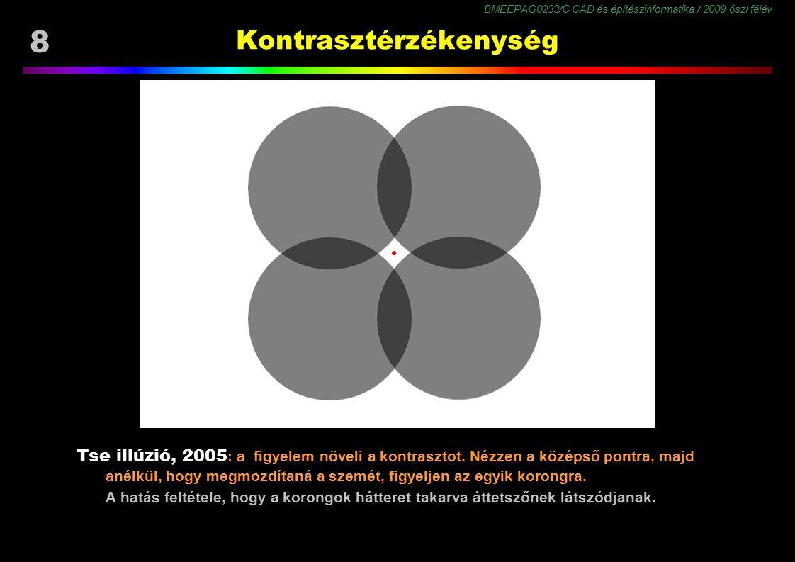 BMEEPAG0233/C CAD és építészinformatika / 2009 őszi félév 59 Színmegjelenés Látvány jellemzői ● környezet és háttér ● részletesség (felbontás) ● árnyalatszám ● szín- és világosságterjedelem ● kontraszt ● képi tartalom ● zavaró mintázat (zaj) Látási feltételek ● látási közeg (zaj) ● látási távolság (felbontás) ● adaptáltság a látvány fény- és színviszonyaihoz ● figyelem, várakozás ● emlékek, tapasztalat, tanultak a Megjelenés (belső kép) paraméterei: