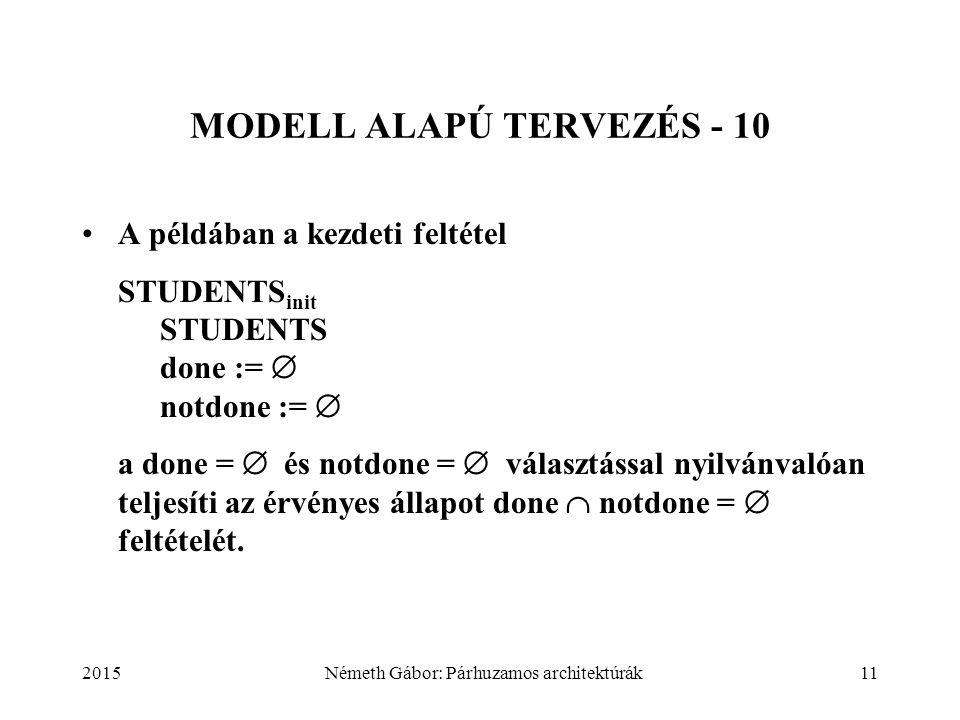 2015Németh Gábor: Párhuzamos architektúrák11 MODELL ALAPÚ TERVEZÉS - 10 A példában a kezdeti feltétel STUDENTS init STUDENTS done :=  notdone :=  a