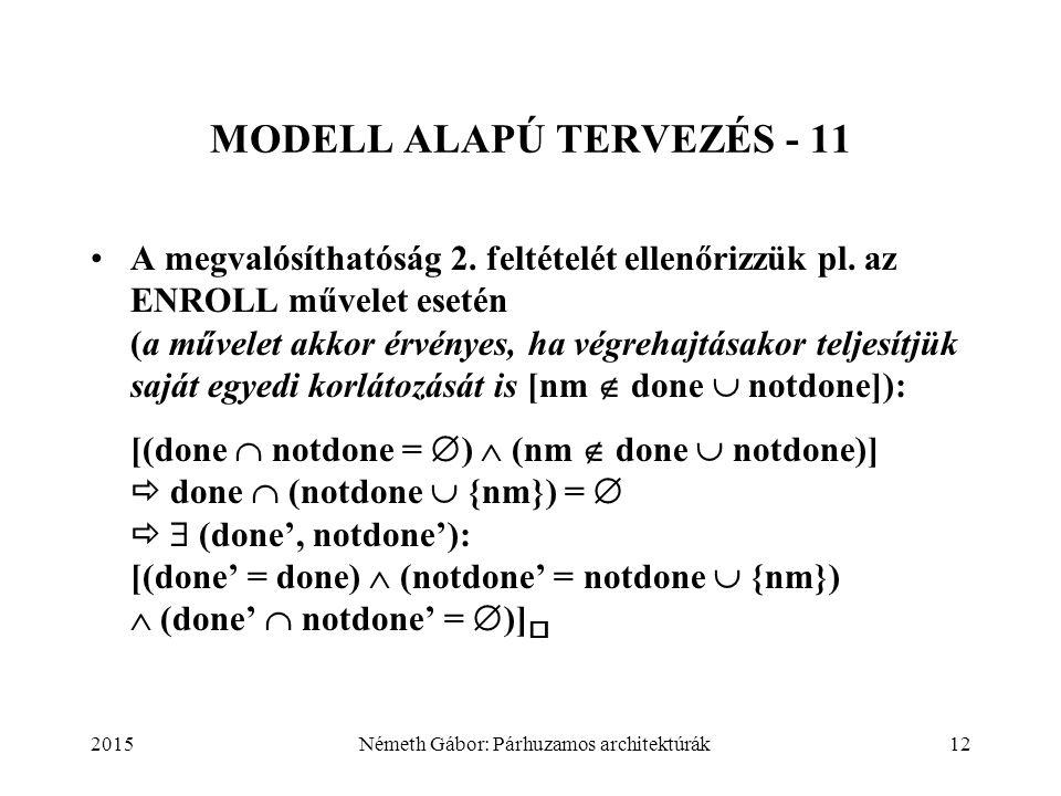 2015Németh Gábor: Párhuzamos architektúrák12 MODELL ALAPÚ TERVEZÉS - 11 A megvalósíthatóság 2. feltételét ellenőrizzük pl. az ENROLL művelet esetén (a