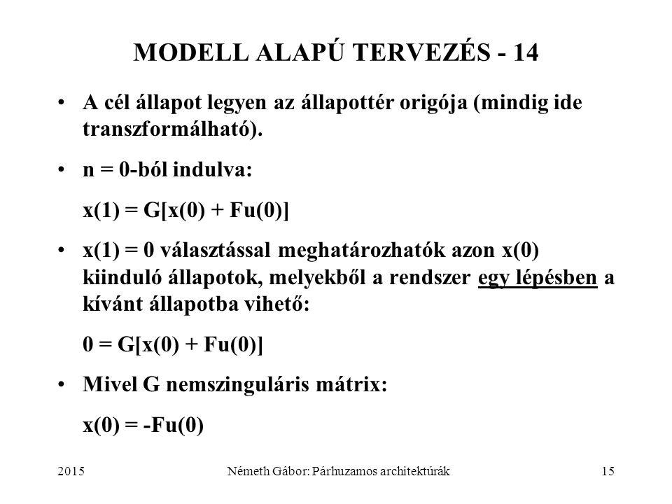 2015Németh Gábor: Párhuzamos architektúrák15 MODELL ALAPÚ TERVEZÉS - 14 A cél állapot legyen az állapottér origója (mindig ide transzformálható). n =