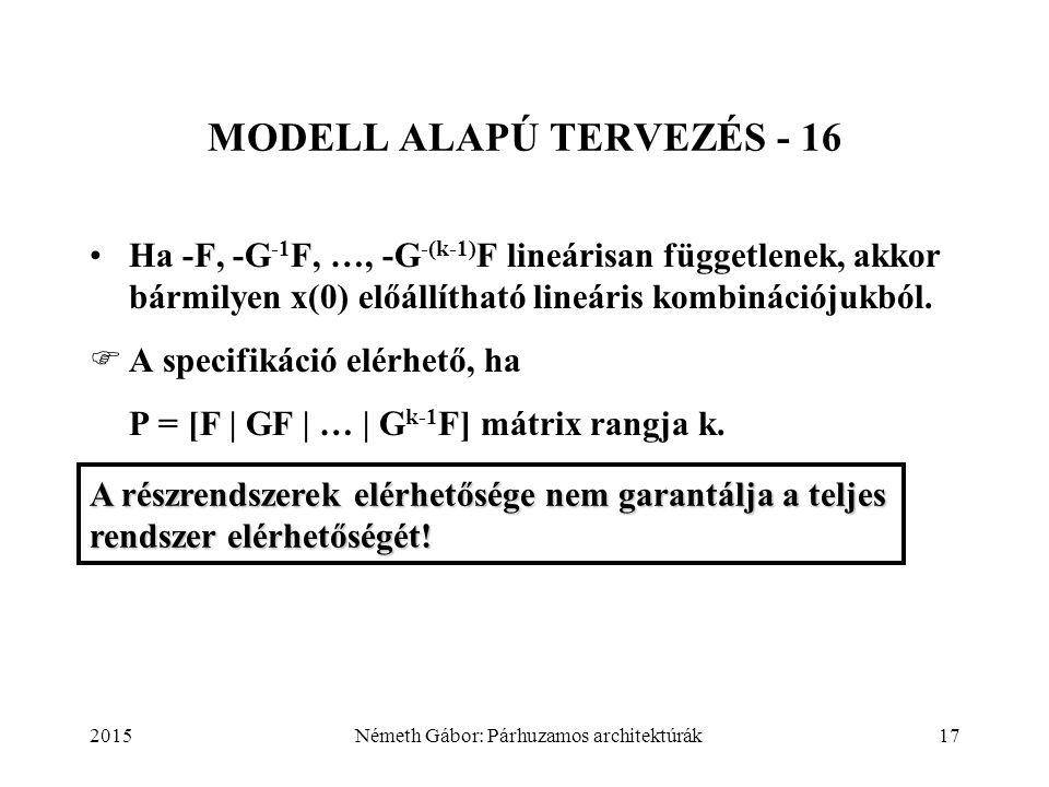 2015Németh Gábor: Párhuzamos architektúrák17 MODELL ALAPÚ TERVEZÉS - 16 Ha -F, -G -1 F, …, -G -(k-1) F lineárisan függetlenek, akkor bármilyen x(0) el