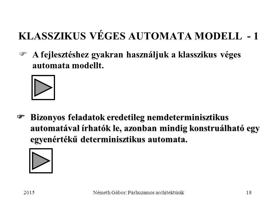 2015Németh Gábor: Párhuzamos architektúrák18 KLASSZIKUS VÉGES AUTOMATA MODELL - 1  A fejlesztéshez gyakran használjuk a klasszikus véges automata mod