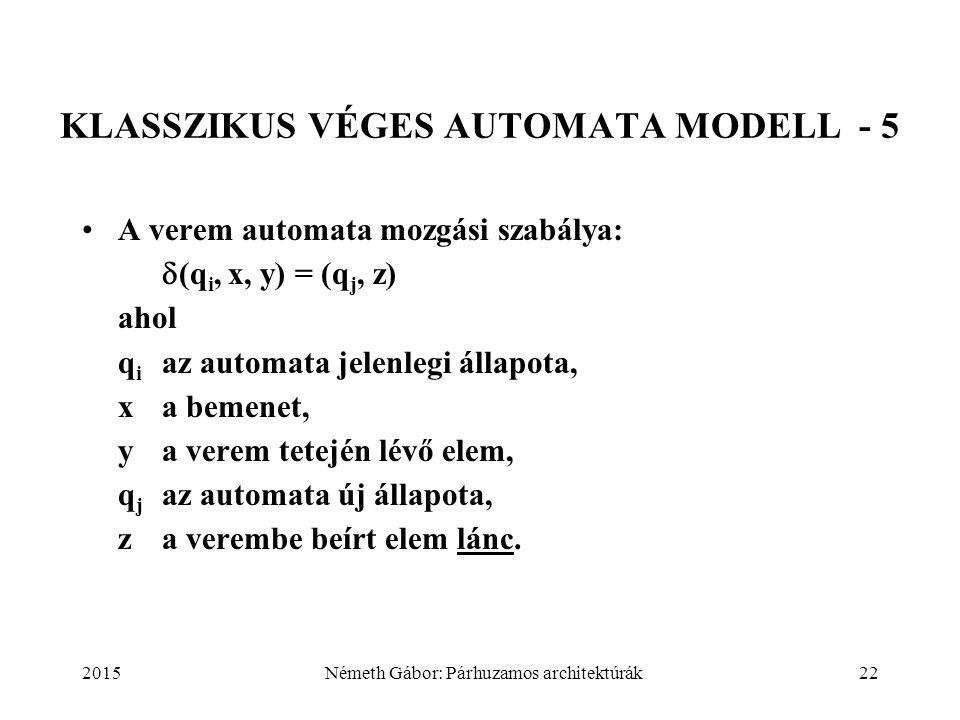 2015Németh Gábor: Párhuzamos architektúrák22 KLASSZIKUS VÉGES AUTOMATA MODELL - 5 A verem automata mozgási szabálya:  (q i, x, y) = (q j, z) ahol q i
