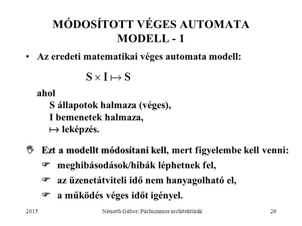 2015Németh Gábor: Párhuzamos architektúrák26 MÓDOSÍTOTT VÉGES AUTOMATA MODELL - 1 Az eredeti matematikai véges automata modell: ahol S állapotok halma