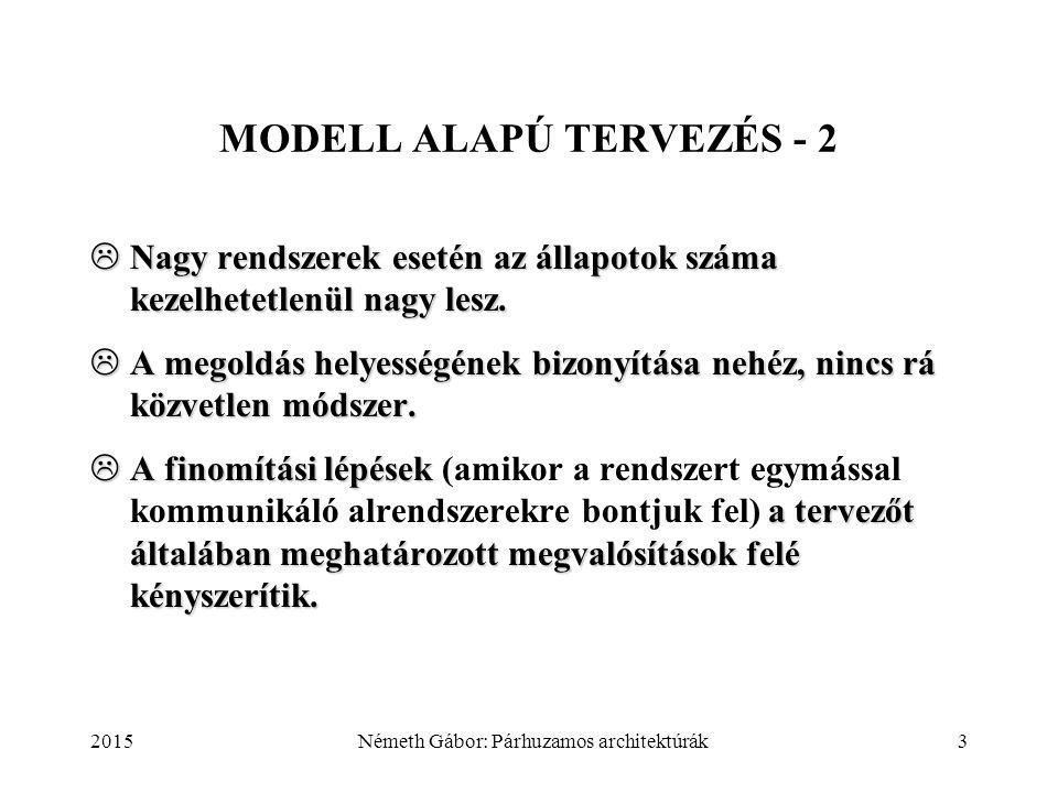 2015Németh Gábor: Párhuzamos architektúrák3 MODELL ALAPÚ TERVEZÉS - 2  Nagy rendszerek esetén az állapotok száma kezelhetetlenül nagy lesz.  A megol
