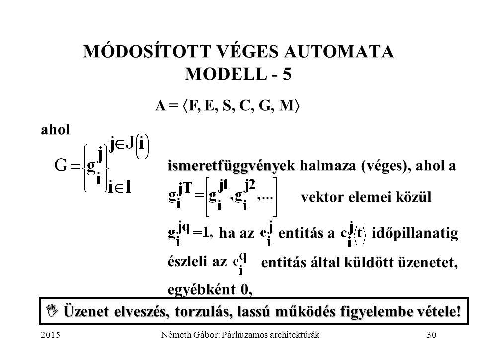 2015Németh Gábor: Párhuzamos architektúrák30 MÓDOSÍTOTT VÉGES AUTOMATA MODELL - 5 A =  F, E, S, C, G, M  ahol ismeretfüggvény ismeretfüggvények halm