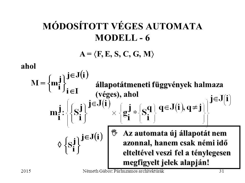 2015Németh Gábor: Párhuzamos architektúrák31 MÓDOSÍTOTT VÉGES AUTOMATA MODELL - 6 A =  F, E, S, C, G, M  ahol állapotátmeneti függvény állapotátmene