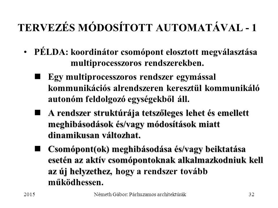 2015Németh Gábor: Párhuzamos architektúrák32 TERVEZÉS MÓDOSÍTOTT AUTOMATÁVAL - 1 PÉLDA:koordinátor csomópont elosztott megválasztása multiprocesszoros