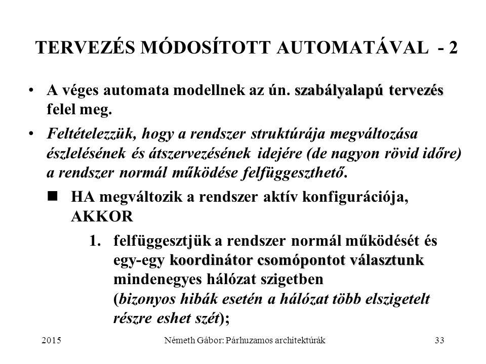 2015Németh Gábor: Párhuzamos architektúrák33 TERVEZÉS MÓDOSÍTOTT AUTOMATÁVAL - 2 szabályalapú tervezésA véges automata modellnek az ún. szabályalapú t