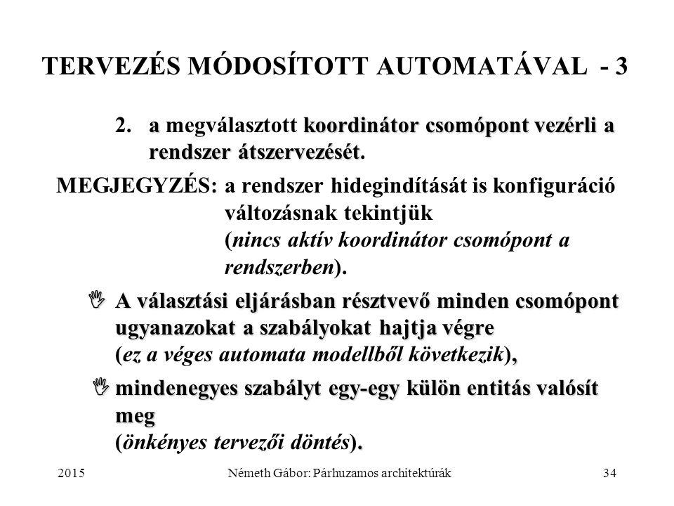 2015Németh Gábor: Párhuzamos architektúrák34 TERVEZÉS MÓDOSÍTOTT AUTOMATÁVAL - 3 akoordinátor csomópont vezérli a rendszer átszervezését 2.a megválasz