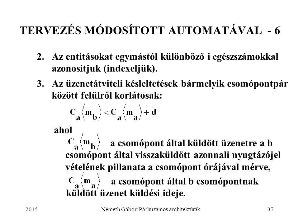 2015Németh Gábor: Párhuzamos architektúrák37 TERVEZÉS MÓDOSÍTOTT AUTOMATÁVAL - 6 2. Az entitásokat egymástól különböző i egészszámokkal azonosítjuk (i