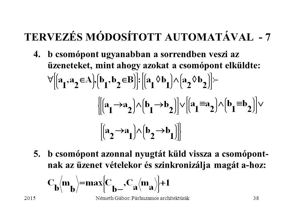 2015Németh Gábor: Párhuzamos architektúrák38 TERVEZÉS MÓDOSÍTOTT AUTOMATÁVAL - 7 4.b csomópont ugyanabban a sorrendben veszi az üzeneteket, mint ahogy