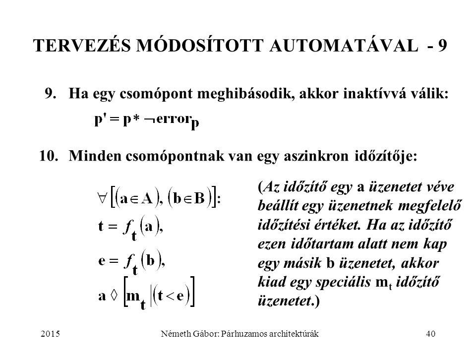 2015Németh Gábor: Párhuzamos architektúrák40 TERVEZÉS MÓDOSÍTOTT AUTOMATÁVAL - 9 9. Ha egy csomópont meghibásodik, akkor inaktívvá válik: 10.Minden cs