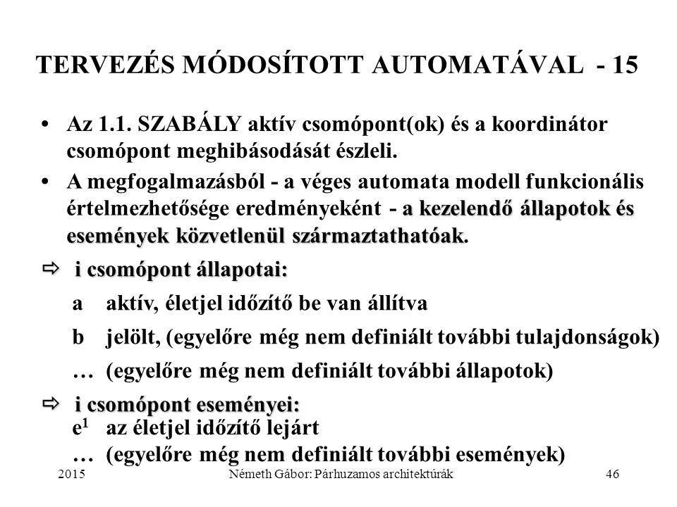 2015Németh Gábor: Párhuzamos architektúrák46 TERVEZÉS MÓDOSÍTOTT AUTOMATÁVAL - 15 Az 1.1. SZABÁLY aktív csomópont(ok) és a koordinátor csomópont meghi