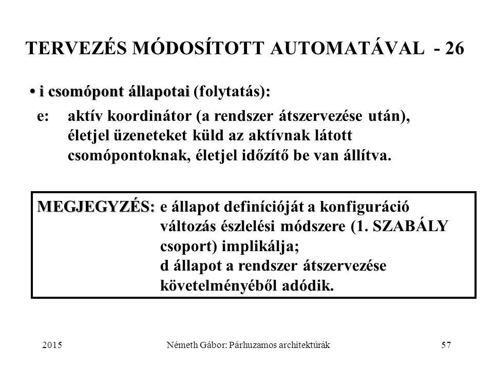 2015Németh Gábor: Párhuzamos architektúrák57 TERVEZÉS MÓDOSÍTOTT AUTOMATÁVAL - 26 i csomópont állapotai: i csomópont állapotai (folytatás): e:aktív ko