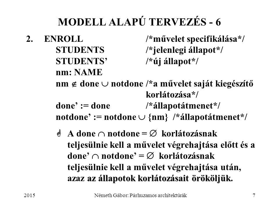 2015Németh Gábor: Párhuzamos architektúrák7 MODELL ALAPÚ TERVEZÉS - 6 2.ENROLL/*művelet specifikálása*/ STUDENTS/*jelenlegi állapot*/ STUDENTS'/*új ál