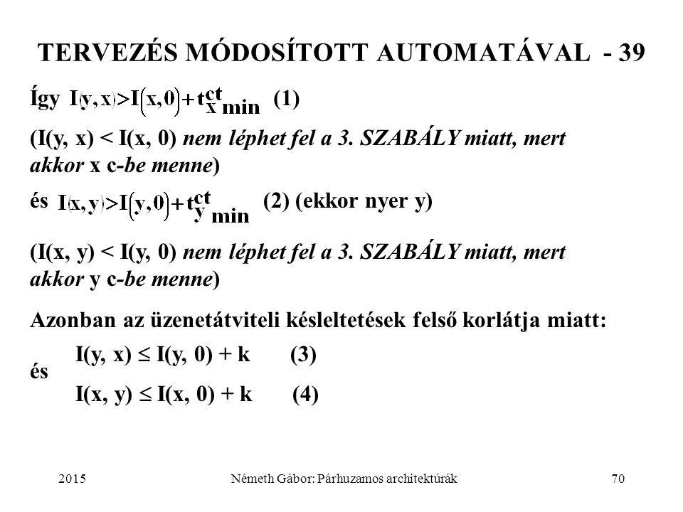 2015Németh Gábor: Párhuzamos architektúrák70 TERVEZÉS MÓDOSÍTOTT AUTOMATÁVAL - 39 Így(1) (I(y, x) < I(x, 0) nem léphet fel a 3. SZABÁLY miatt, mert ak